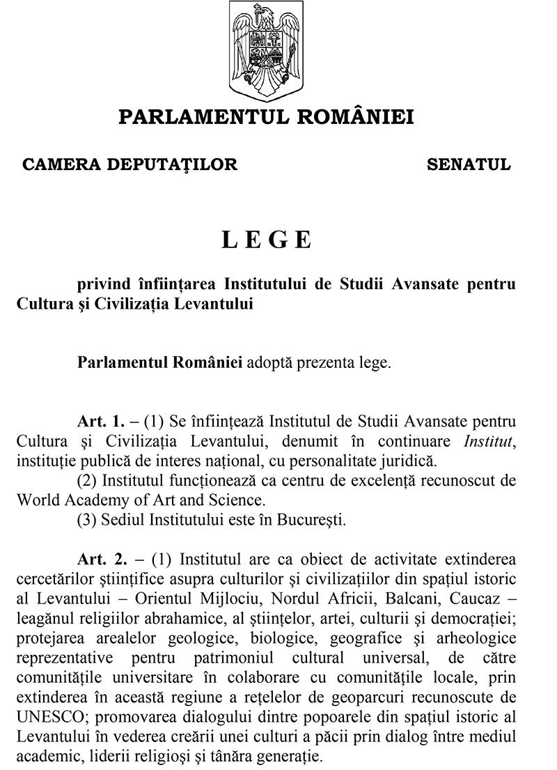 Legeprivind înfiinţarea Institutului de Studii Avansate pentruCultura şi Civilizaţia Levantului