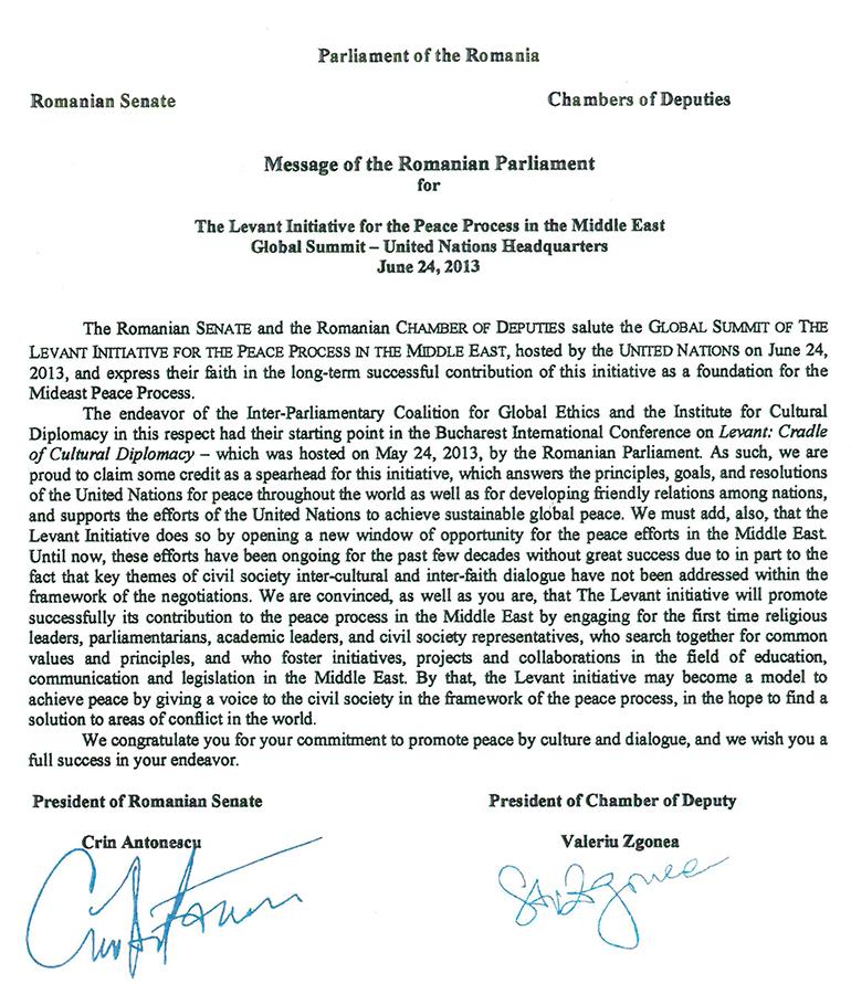 Inițiativa Levant pentru pace globală în Parlamentul României