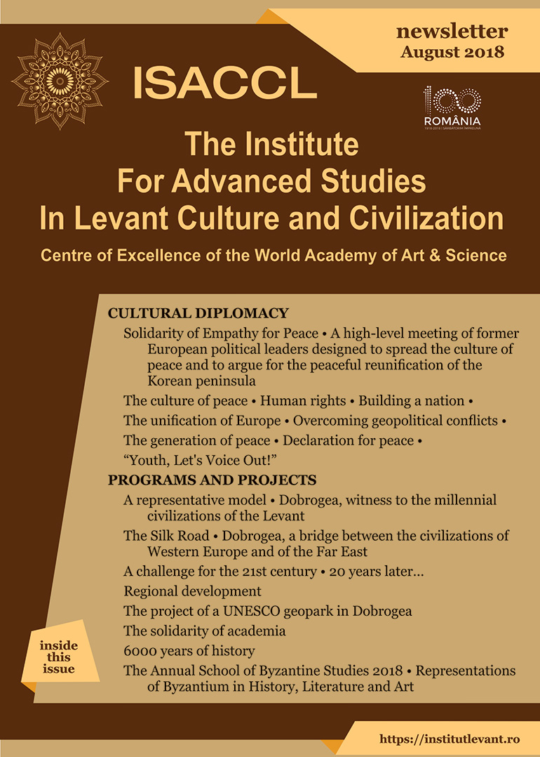 The Institute for Advanced Studies in Levant Culture and Civilization Centre of Excellence of the World Academy of Art & Science newsletter August 2018