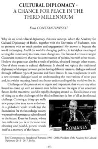 Crossroads Vol. V - The Macedonian Foreign Policy Journal - Emil Constantinescu: Cultural Diplomacy - A Chance for Peace in the Third Millennium
