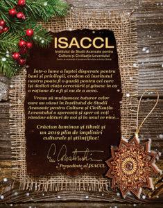 Crăciun luminos și tihnit și un 2019 plin de împliniri culturale și științifice! Emil Constantinescu, Președintele Consiliului Științific al ISACCL