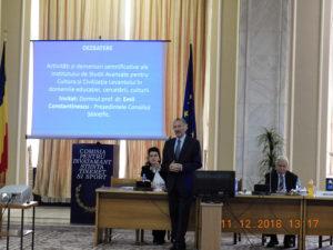 """Conducerea Institutului de Studii Avansate pentru Cultura și Civilizația Levantului, la""""Comisia pentru învățământ, știință, tineret și sport"""" a Camerei Deputaților"""