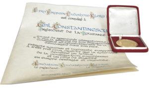 Diploma și medalia Premiului European Coudenhove - Kalergi