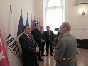 Emil Constantinescu în vizită la sediul TRACECA, Baku, Azerbaidjan