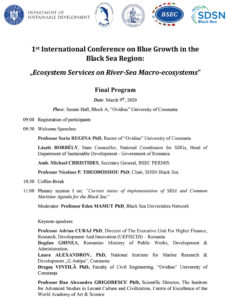 "1st International Conference on Blue Growth in the Black Sea Region: ""Ecosystem Services on River-Sea Macro-ecosystems"""