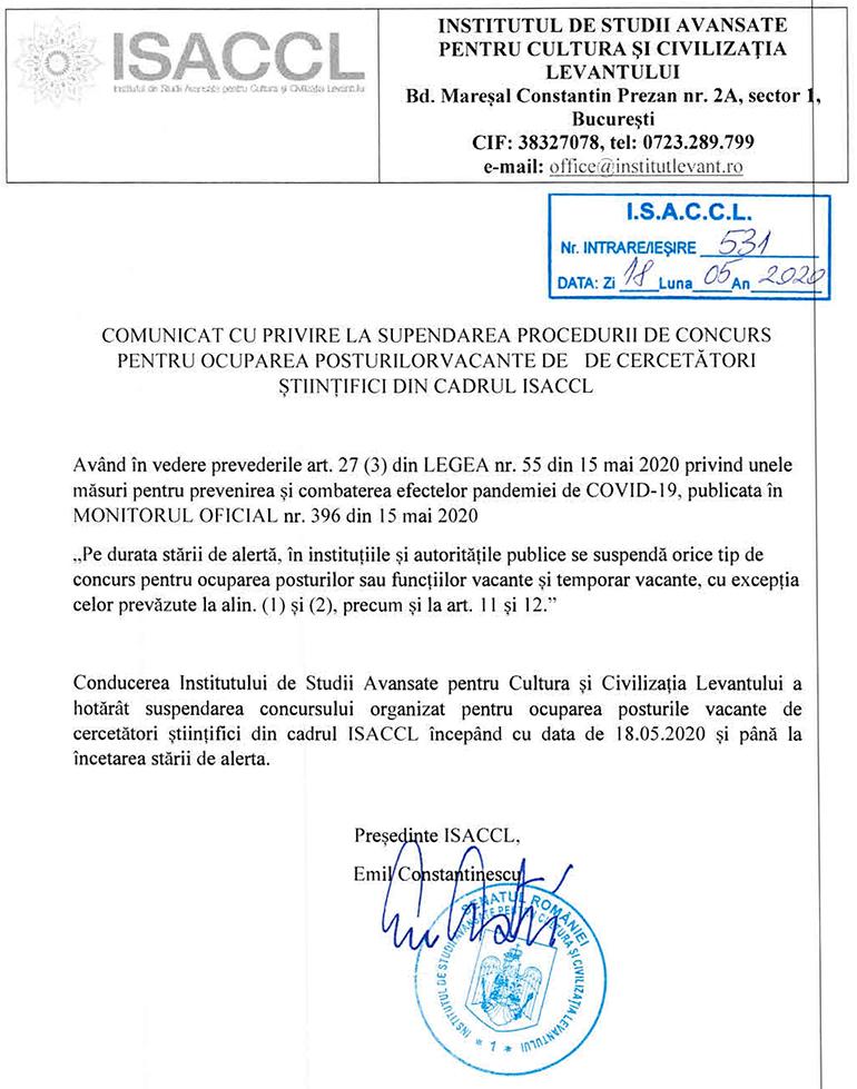 Comunicat cu privire la suspendarea procedurii de concurs pentru ocuparea posturilor vacante de cercetători științifici din cadrul ISACCL