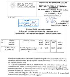 Rezultatul final la concursul/examenul desfășurat în vederea ocupării posturilor vacante din cadrul ISACCL