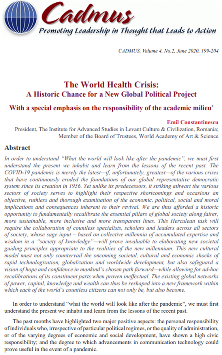 The World Health Crisis: A Historic Chance for a New Global Political Project - With a special emphasis on the responsibility of the academic milieu, Emil Constantinescu