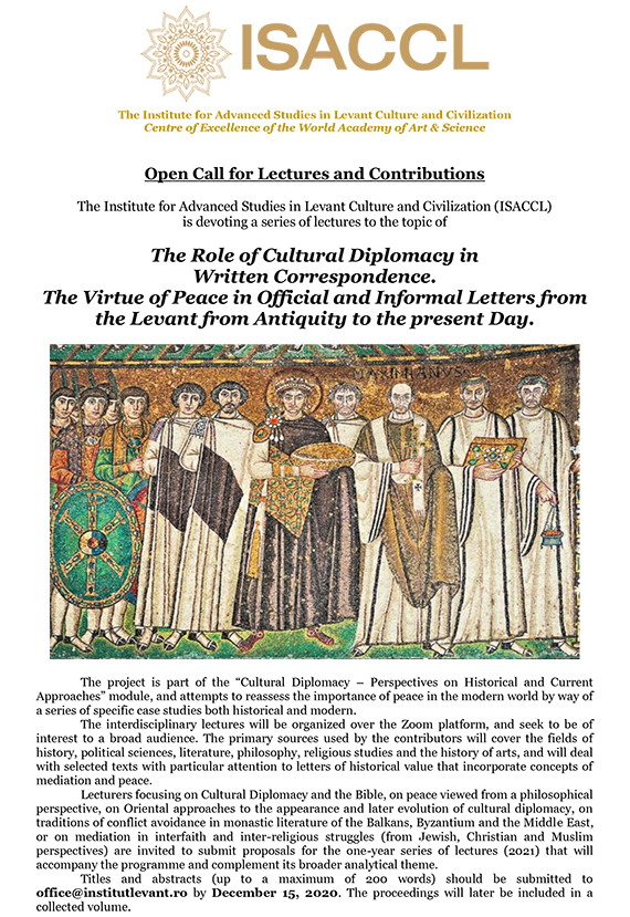 The Role of Cultural Diplomacy in  Written Correspondence.  The Virtue of Peace in Official and Informal Letters from the Levant from Antiquity to the present Day