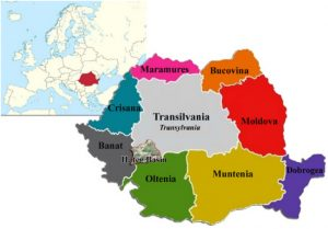 Map of Romania with geographical regions and Haţeg Basin location in South-Western Transylvania