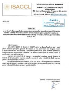 RAPORT CU PRIVIRE LA INCHEIEREA PERIOADEI DE DEPUNERE A CONTESTATIILOR