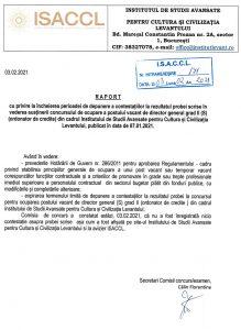 Raport cu privire la încheierea perioadei de depunere a contestațiilor la rezultatul probei scrise în vederea susținerii concursului de ocupare a postului vacant de director general grad II (S) (ordonator de credite) din cadrul Institutului de Studii Avansate pentru Cultura și Civilizația Levantului