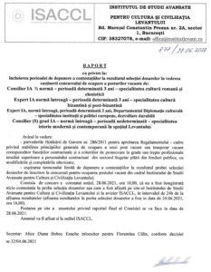 Raport cu privire la încheierea perioadei de depunere a contestațiilor la rezultatul selecției dosarelor în vederea susținerii concursului de cupare a posturilor vacante