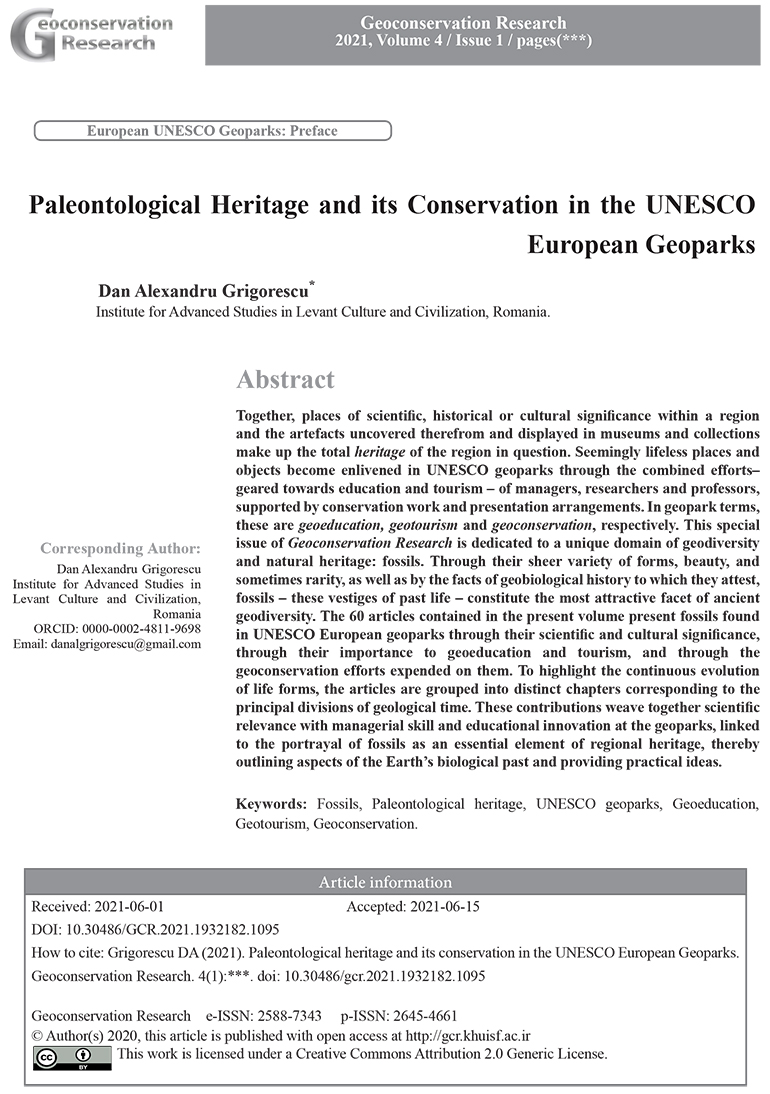 """Apariție editorială: """"Patrimoniul paleontologic și geoconservarea în cadrul geoparcurilor UNESCO din Europa"""". Prof. Dan Grigorescu, director științific al ISACCL, editor asociat"""
